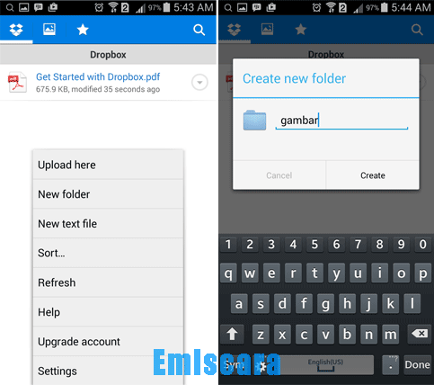 Cara Membuat Folder di DropBox - Android