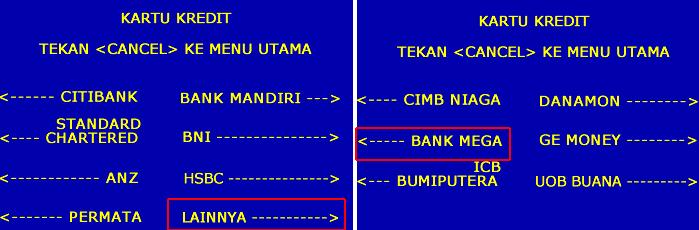 Membayar Tagihan Kartu Kredit Bank Mega Lewat ATM Mandiri