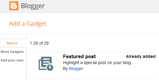 Widget Baru di Blogger Sekarang Ada Featured Post
