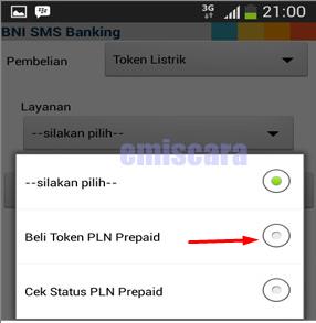 Cara Membeli Token Listrik Via Sms Banking BNI