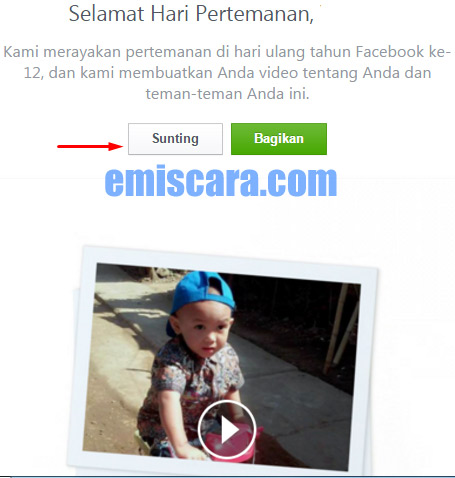 Cara Mengubah Video Hari Pertemanan Facebook #friendsday