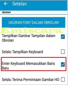 Cara Menampilkan Tombol Enter BBM di Keyboard Android