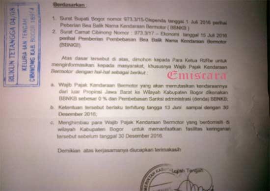 Kabar Gembira Mutasi Kendaraan Ke Kabupaten Bogor Gratis!