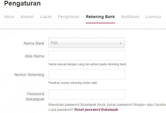 Cara Mengisi Nomor Rekening Bank di Bukalapak Bagi Penjual