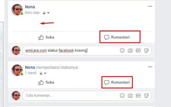 Cara Update Status Facebook Kosong Terbaru 2018 Dari HP Dan Komputer