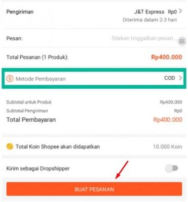 cara pembayaran cod di shopee